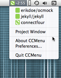 Screenshot: CCMenu